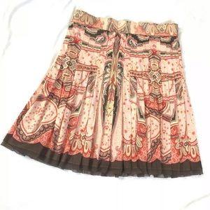 Elite Tahari Skirt Pleated Paisley Cotton Blend 1G